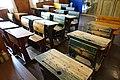 Karmsund folkemuseum Haugesund Norway Interior Skolestue klasserom Class room ca 1910 Skolepulter skrivepulter benker school room Benches writing desks etc 2020-06-10 DSC00308.jpg