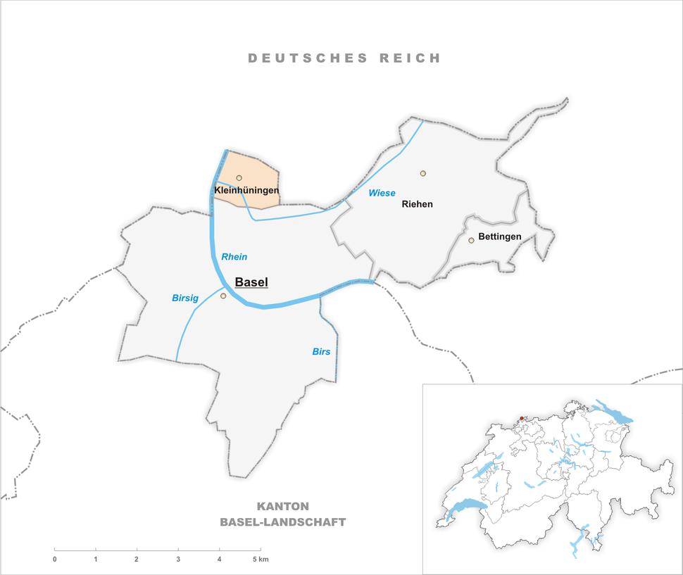 Karte Gemeinde Kleinhüningen 1907