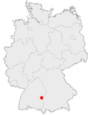 Location of Ulm in Germany