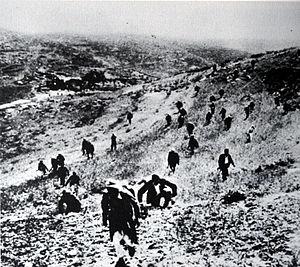 Operation Nachshon - Palestinian irregulars, under the command of Abd al-Qadir al-Husayni, moving to counterattack Haganah positions in Al-Qastal, 7–8 April 1948