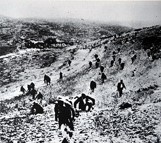 1947–1949 Palestine war - Palestinian irregulars of the Holy War Army, approaching al-Qastal village near Jerusalem to take it back from Palmach.