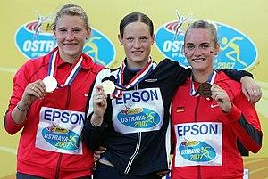 2007 World Youth Championships in Athletics - The heptathlon podium, left to right: Carolin Schäfer (GER), Kateřina Cachová (CZE), Elisa-Sophie Dobel (GER).
