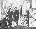 Kate Lechmere, Cuthbert Hamilton (seated), Edward Wadsworth and Wyndham Lewis 1914.jpg