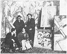 Cuthbert Hamilton (seated), Kate Lechmere, Edward Wadsworth and Wyndham Lewis at the Rebel Art Centre, March 1914.