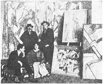 Vorticism - Kate Lechmere, Cuthbert Hamilton (seated), Edward Wadsworth and Wyndham Lewis at the Rebel Art Centre, March 1914.