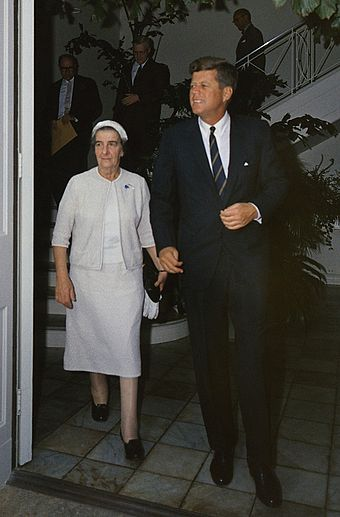 Kennedy with Israeli Foreign Minister Golda Meir, December 27, 1962 Kennedy-Golda Meir.jpg