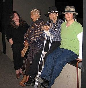 Jewelle Gomez - Native women writers left to right, Kim Shuck (Cherokee-Sac and Fox), Jewelle Gomez (Iowa), L. Frank (Tongva-Acjachemen) and Reid Gómez (Navajo)