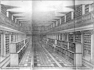 Daniel Gotthilf Moldenhawer - The great hall in the Royal Library, as it was in the middle of the 1800s