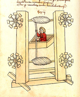 Elevator - Elevator design by the German engineer Konrad Kyeser (1405)