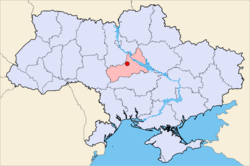 Map of Ukraine with Korsun-Shevchenkivskyi highlighted.