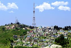 Panorama of Kurseong with TV tower in the background