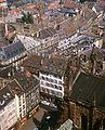 Látkép a katedrális tornyából, előtérben a Place de Cathedral, középen a Rue des Juifs. Fortepan 31738.jpg
