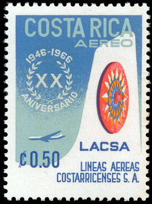 Avianca Costa Rica - Postal stamp issued to commemorate LACSA's 20th anniversary (1946–66).