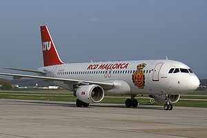 RCD Mallorca - The team plane, needed due to the club's island location
