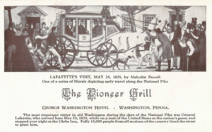 Globe Inn - A postcard celebrating the 1825 visit of LaFayette, bearing a painting by Malcolm Parcell.