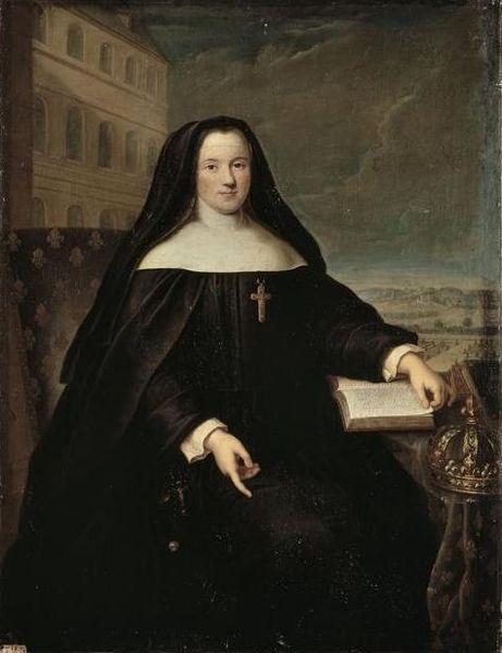 File:La reine Marie Leszczynska en costume de religieuse devant la Maison Royale de Saint-Cyr par Santerre.jpg