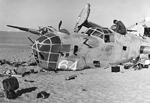 "376th Expeditionary Operations Group - Wreckage of the 376th Bomb Group B-24D Liberator ""Lady Be Good"" (41-24301) when found in the Libyan Desert, November 1958"
