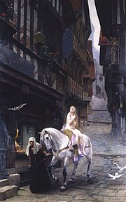 In the painting of Lady Godiva by Jules Joseph Lefebvre, the authentic historical person is fully submerged in the legend, presented in an anachronistic high medieval setting.