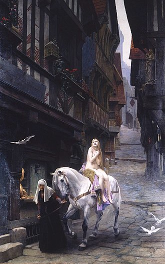 Legend - In this 1891 painting of Lady Godiva by Jules Joseph Lefebvre, the authentic historical person is fully submerged in the legend, presented in an anachronistic high mediaeval setting.