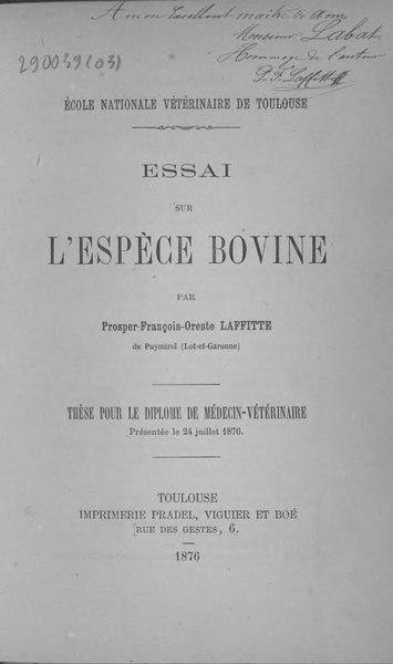 File:Laffitte - Essai sur l'espèce bovine.djvu