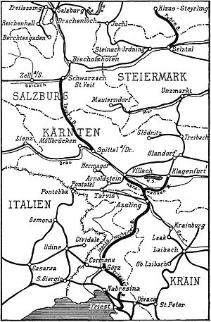Tauern Railway - Map of the Alpine Railways, 1921