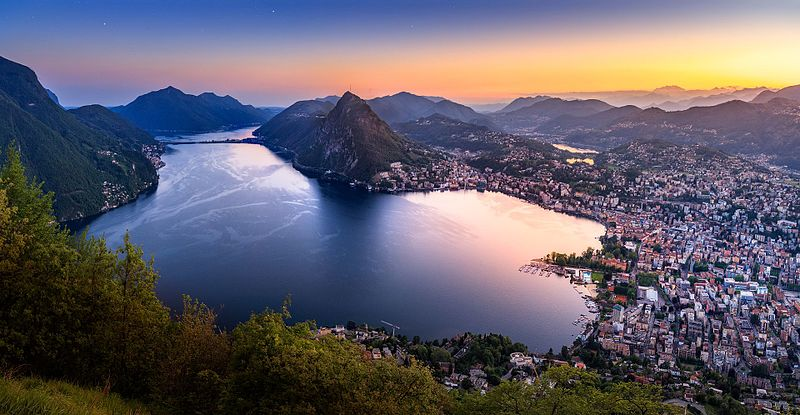 The bay of Lugano, the largest Italian-speaking city of Switzerland