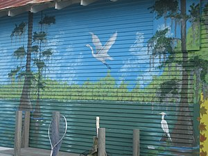 Doyline, Louisiana - A mural of nearby Lake Bistineau State Park in Doyline
