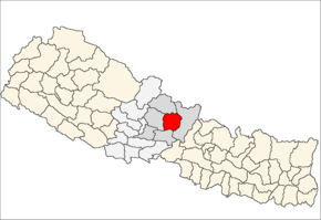 Lamjung District i Gandaki Zone (grå) i Western Development Region (grå + lysegrå)