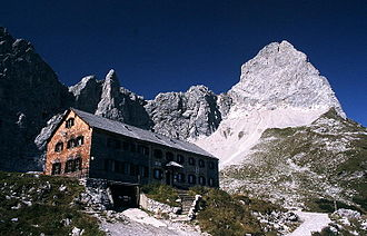 Alpine club hut - Lamsenjoch Hut (1953 m / 6407 ft) of the German Alpine Club, Karwendel range, Tyrol, Austria