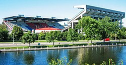 Frank Clair Stadium at Lansdowne Park, the Rideau Canal is in the foreground