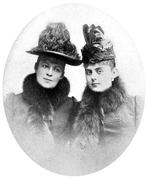 Baroness Mary Vetsera - The last photograph taken of Baroness Mary Vetsera (at right), wearing the dress in which she was buried. On the left is Countess Marie Larisch, cousin of Crown Prince Rudolf who arranged assignations between him and Vetsera.