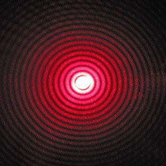 Diffraction - Diffraction pattern of red laser beam made on a plate after passing through a small circular aperture in another plate