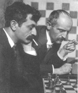 Berthold Lasker - Bertold (right) and Emanuel Lasker analysing chess board 1908 (photo by Frank Eugene)