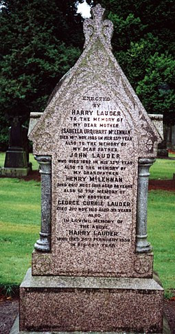 Sir Harry Lauder's Grave, Bent Cemetery, Hamilton, South Lanarkshire Lauder Gravesite.jpg