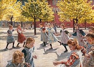 Peter Hansen (painter) - Peter Hansen: Legende børn. Enghave plads (1908)