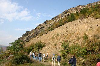 Lehigh Gap - Exposure of the Shawangunk Formation at Lehigh Gap, facing north, 2006