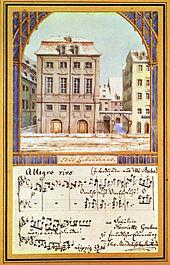Das alte Gewandhaus mit Noten aus der bei Mendelssohns Antrittskonzert am 4. Oktober 1835 aufgeführten Oper Ali-Baba oder Die vierzig Räuber von Luigi Cherubini, Aquarell von Felix Mendelssohn Bartholdy (1836), der Sängerin Henriette Grabau gewidmet (Quelle: Wikimedia)