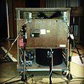 """Leslie speaker microphone setting. KayoDot album """"Hubardo"""" recording, 2013-04-21.jpg"""