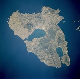 Photo satellitaire de Lesbos.