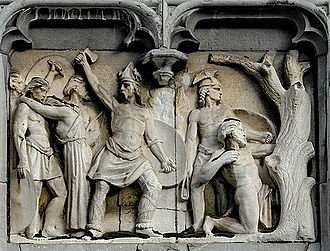 Ambiorix's revolt - Ambiorix attacking Roman soldiers, relief at the Liège Provincial Palace