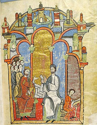 Liber feudorum maior - Ramon de Caldes (right) reading documents from the royal cartulary to Alfonso II. Some of the documents in the miniature can be identified with specific items in the cartulary. Frontispiece.