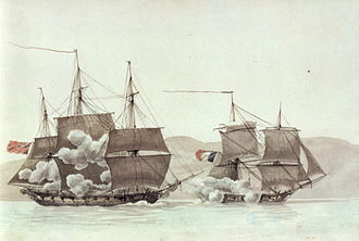 Francis Austen - Battle between HMS Peterel and the French brig ''Ligurienne'', 21 March 1800. Painting by Antoine Roux.