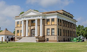 Lipscomb County courthouse in Lipscomb. Shown here undergoing restoration in May 2020.