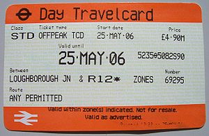 Travelcard - One Day Travelcard issued at a National Rail outlet