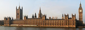 The Palace of Westminster seen from east. Vict...