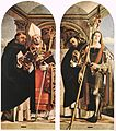 Lorenzo Lotto - Sts Thomas Aquinas and Flavian, Sts Peter the Martyr and Vitus - WGA13660.jpg