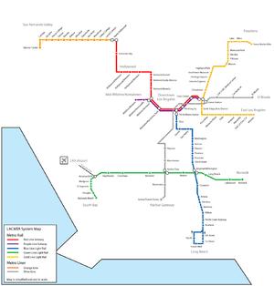 Los Angeles Metro map showing transit lines. U...