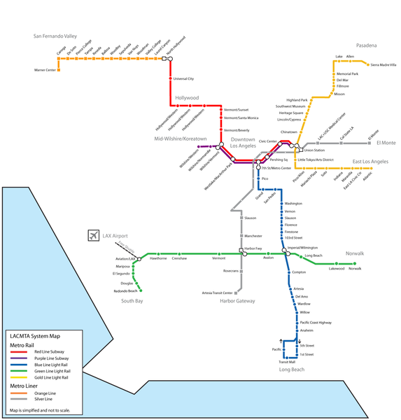 metro map los angeles map of the world