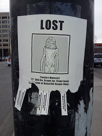 Flyposting - A fake lost-person poster advertising the second annual Treefort Music Fest in Boise, Idaho, 2013