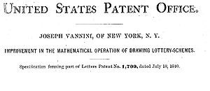 Header from 1840 US patent on a new type of private lottery